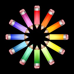 A circle of coloured pencils forming a colour wheel on a black background. EPS10 vector format