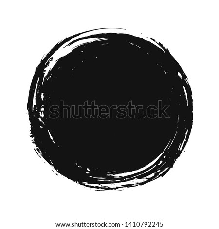 A circular background of black ink drawn by hand with a brush. Isolated on a white background. Vector illustration.