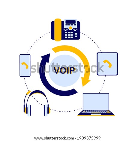 A circular diagram of the device of the VoIP telephony system, includes a server, cloud storage, laptop or computer, phone, tablet, headphones for the operator. Flat vector infographics. Zdjęcia stock ©