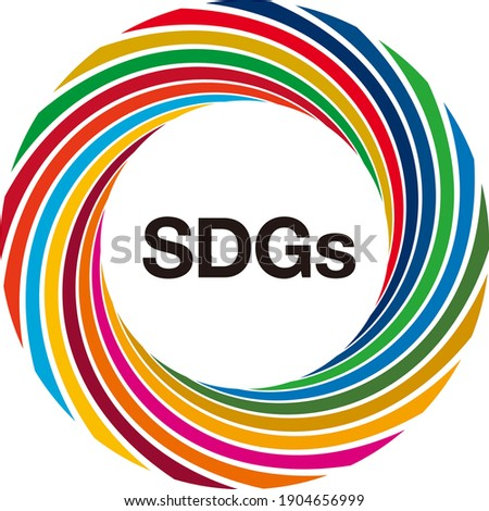 """A circular layout of thin objects colored in 17 symbol colors. The letters """"SDGs"""" in the center. A symbol mark that imagines the Sustainable Development Goals (SDGs). Created with vector data."""