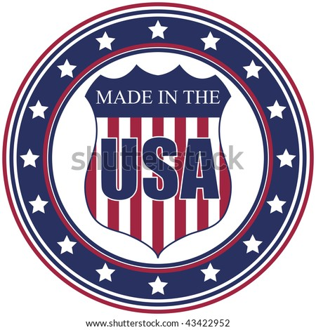 A circular made in the U.S.A. vector decal or stamp