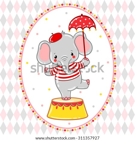 a circus elephant standing on a