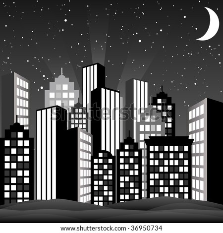 A cityscape at night. Vector Illustration. - stock vector