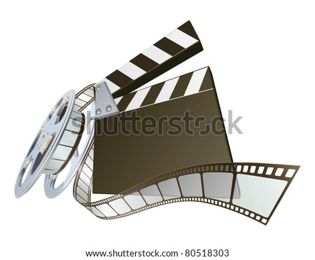 A clapperboard and film spooling out of film reel illustration. Dynamic perspective and copyspace on the board for your text.