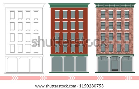 A classic American brick multi-storey house. Stages of designing and building a classical building.. Expensive real estate. Downtown.