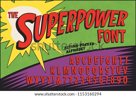 Stock Photo A classic comic book logo-styled alphabet called The Superpower Font