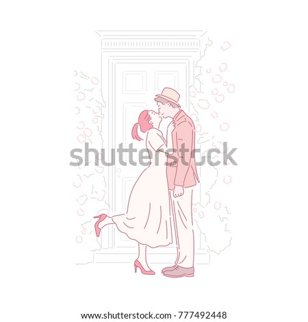 A classic style couple character and simple lines background hand drawn style vector doodle design illustrations.