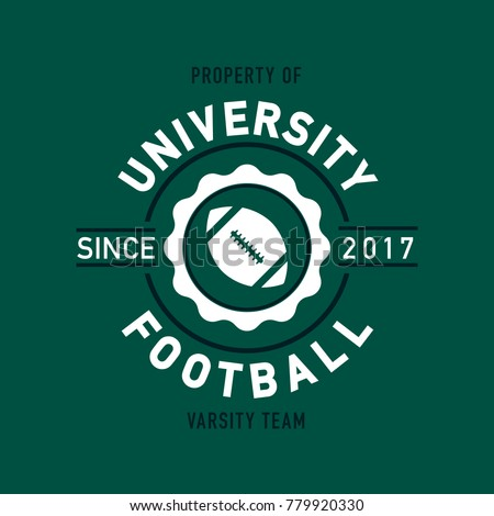 A classic style university football team shirt design in vector format.