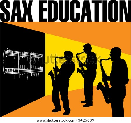 A classroom setting with three sax players in front of a blackboard