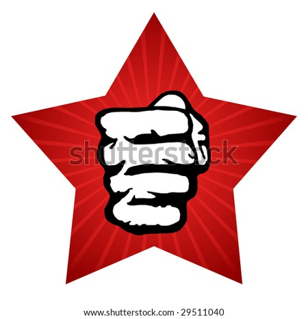 A clenched fist held high in protest. Vector