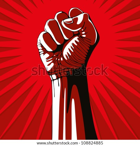 A clenched fist held high in protest, vector illustration. - stock vector