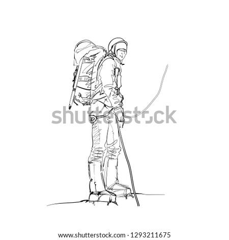 A Climber on a Snow Slope. Winter Mountaineering and Climbing. A Mountaineer with an Ice axe. Vector Illustration. Freehand Monochrome Drawing. Extreme  Sport. Realistic Style Sketch. Young Athlete.