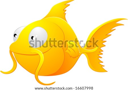 cute goldfish cartoon. of a cute lovable goldfish