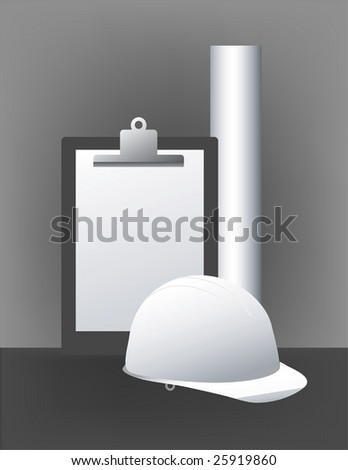A clipboard, blueprint, and a hard hat on this Construction Management illustration.