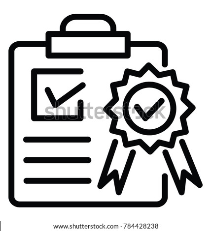 A clipboard with a ribbon badge showing quality assurance line icon design