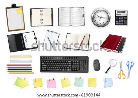 A clock, calculator, notebooks and some office supplies. Vector.
