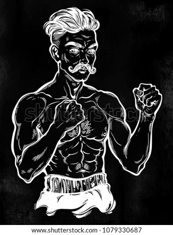 a close up of hand drawn boxer