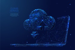 A cloud storage and laptop composed of polygons. Low poly vector illustration consists of lines, dots and shapes. Internet cloud service symbol. Blue Isolated abstract image