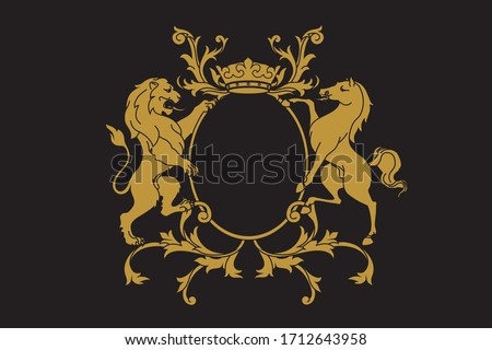 A coat of arms crest heraldic medieval rampant lion and horse for royal family shield. Golden vintage motif with filigree leaf heraldry. Stockfoto ©