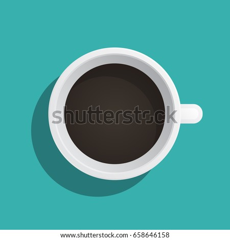 A coffee Cup painted in a flat style top view. Vector banner with a Cup of drink