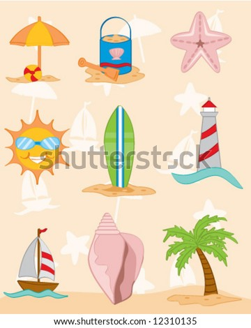 A collection of beach and tropical graphics