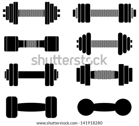 a collection of black dumbbells