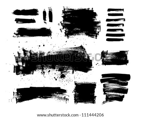 A collection of black grungy vector abstract hand-painted brush strokes