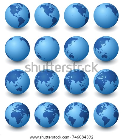 A collection of blue earth globesin sixteen rotated views against a white background.