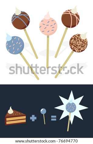 A collection of cake pop illustrations.