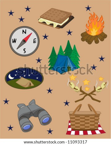 A collection of camping related graphics