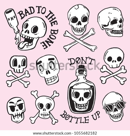 A collection of cartoon skulls in various styles. Vector illustrations.