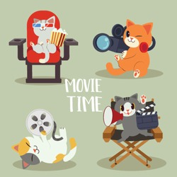 a collection of character of cute cat with movie concept in flat vector style. Graphic resource about cat and movie for graphic,content , banner, sticker and greeting card.