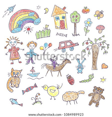 A collection of children's hand drawings on a white background. Funky colored doodles with felt-tip pens ストックフォト ©