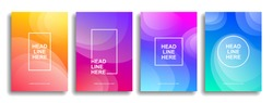 A collection of colorful covers. Wavy shapes with gradient. Modern design. Eps10 vector