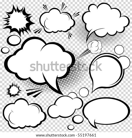 A collection of comic style speech bubbles. Vector illustration. - stock vector