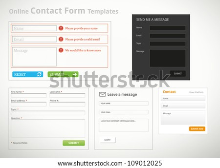 A collection of contact form templates and scribbles for websites