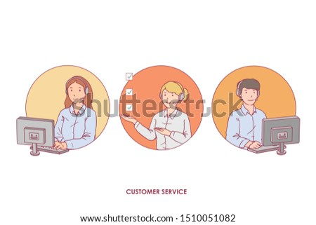 a collection of customer service illustrations