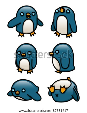 A collection of cute cartoon penguins.