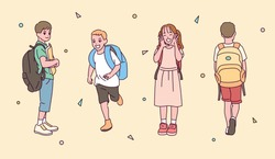 A collection of cute elementary school students characters carrying bags. hand drawn style vector design illustrations.