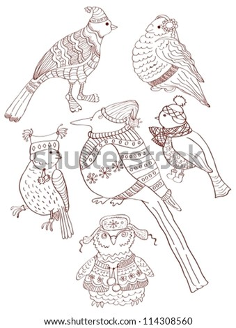 A collection of cute hand-drawn bird doodles, illustration, vector - stock vector