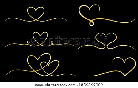 A collection of decorative frames in the shape of a gold heart ribbon. Perfect for design elements of invitation ornate frames and templates. Elegant gold love  swirl decorative set.