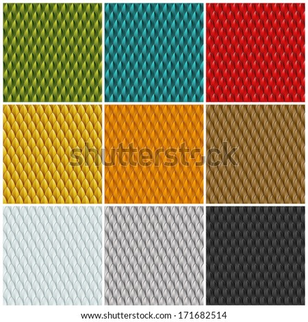 Stock Photo A collection of 9 different colored reptile skin backgrounds. Seamlessly repeatable. Eps 10 Vector.