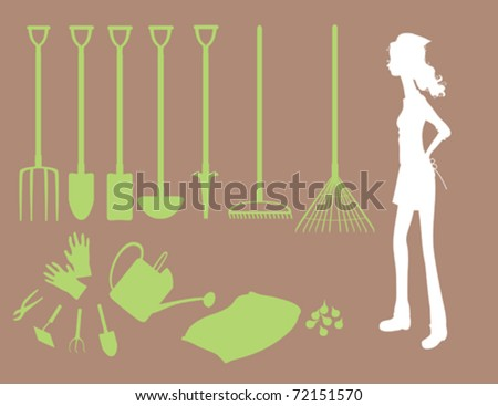 A collection of different gardening tools and a gardener.