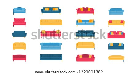A collection of different sofas. A big set of furniture for the home. Elements of the interior of the apartment. Interior Design. Goods for repair and construction. Vector flat illustration