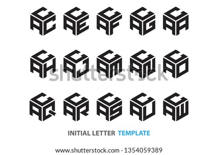 a collection of fifteen different kinds of initial three-letter hexagon logos in a modern black style