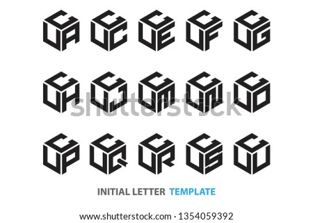 a collection of fifteen different kinds of initial three-letter hexagon logos in a modern black style Foto stock ©