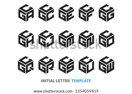 a collection of fifteen different kinds of initial three-letter hexagon logos in a modern black style Stok fotoğraf ©