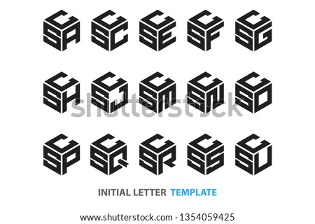 a collection of fifteen different kinds of initial three-letter hexagon logos in a modern black style Stock fotó ©