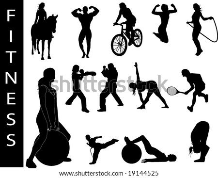 A collection of fitness silhouettes - Check out my portfolio for other collections.