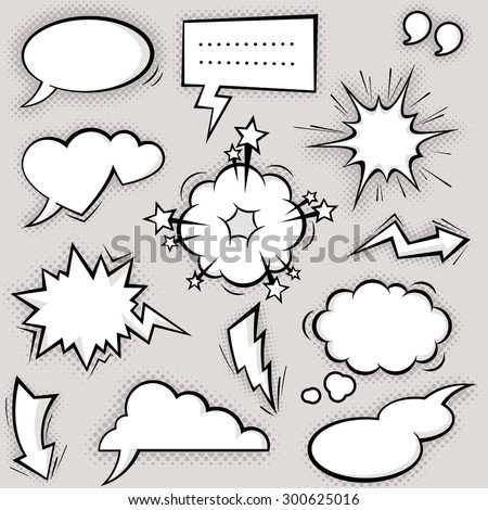 A collection of funny balloons for comic speeches and also sound effects.